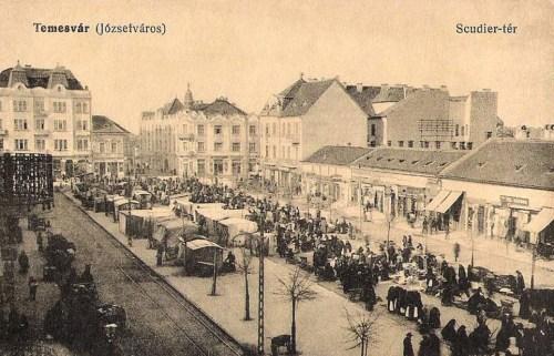 Temesvár:Scudier tér a piaccal.1914