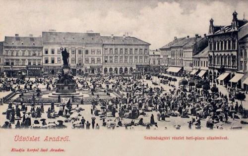 Arad_Szabadság tér heti piac idején.1903