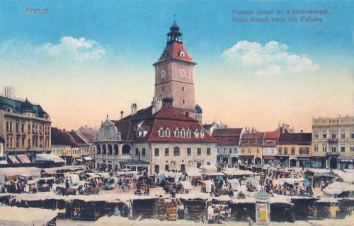 Brassó:Ferencz József tér a városházával.1916
