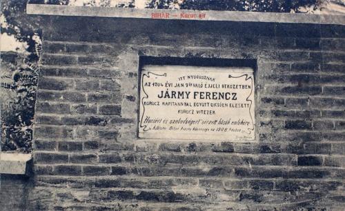 Bihar:1704-ben Jármy Ferenc kuruc kapitánnyal együtt elesett vitézek nyughelye.