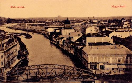 Nagyvárad:Körös részlet a zsinagógával.1914