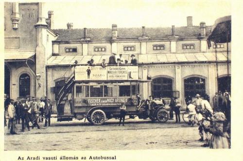 Arad:autobusz a vasútállomásnál.1916
