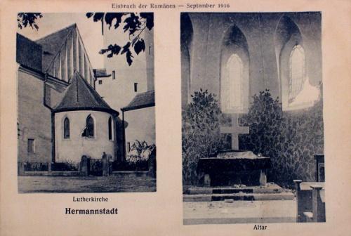 Nagyszeben:templom a románok betőrése után.1916