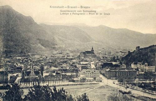 Brassó:látkép a Fellegvárról,balra a református templom.1912