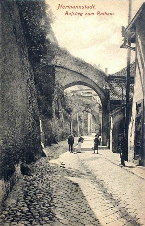 Nagyszeben:felmenet a városháza felé.1910