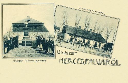 Herczegfalva:József főherceg(nádor) szobor és posta.1912