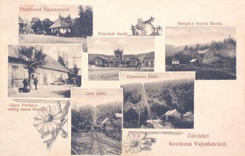 Vajnafalva:meleg vasas fürdő,borviz forrás,sikló és fürdő.1907