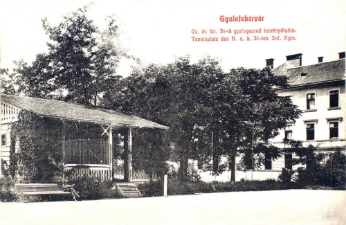 császári és királyi 31-ik gyalogezred teniszpályája.1908