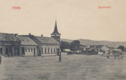 Tövis:utca részlet a templommal.1908