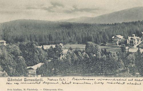 balra a Lobogó fürdő,középen a Székház,jobbra az Excelsior és Csiki villa.