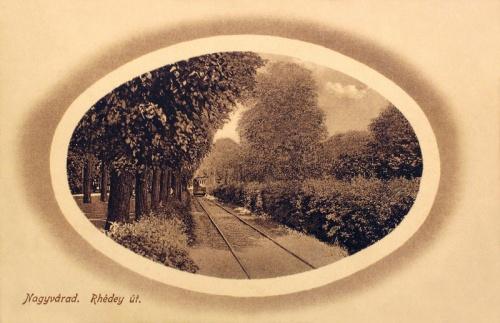 Nagyvárad:Rhédey út villamossal.1911