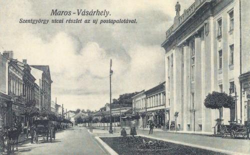 Marosvásárhely:Maros-Szentgyörgy utca a postapalotával.1914