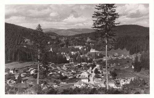 Borszék:látkép,balra a katolikus templom,jobbra a zsinagóga.1940