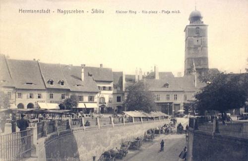 Nagyszeben:Kis tér a toronnyal.1911