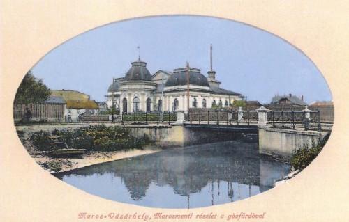 Gőzfürdő a gróf Bercsényi Miklós hiddal és Maros parti részlettel.1911