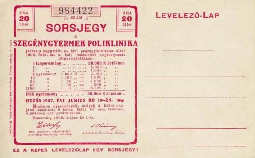 Temesvár:sorsjegy képeslap a Szegénygyermek Poliklinika javára.