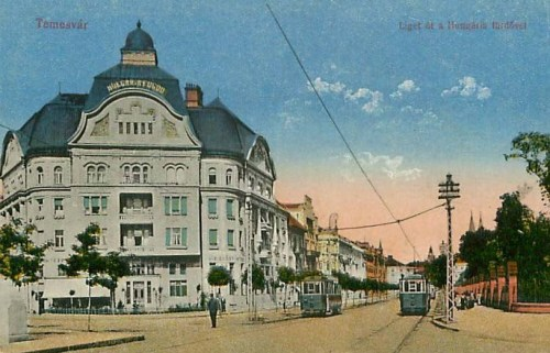 Temesvár:Liget út a Hungária fürdővel.1915