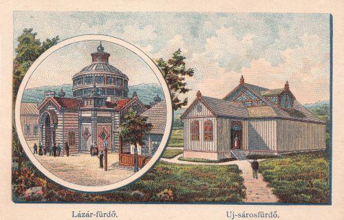 Borszék:Lázár fürdő és Új Sáros fürdő.Morelli rajz után készült litográfia.1890