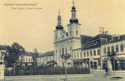 balra a Kossuth park,jobbra a katolikus templom és a régi városháza.1907