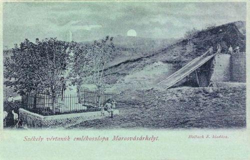 Postarét:székely vértanúk emlékoszlopa,1899-ben. (Török János,Gálffi Mihály,Horváth Károly)