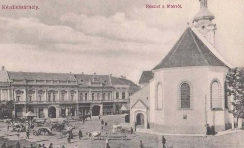 Kézdivásárhely:főtér a templommal.1908