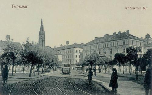 Temesvár:Jenő herceg tér villamossal.1907