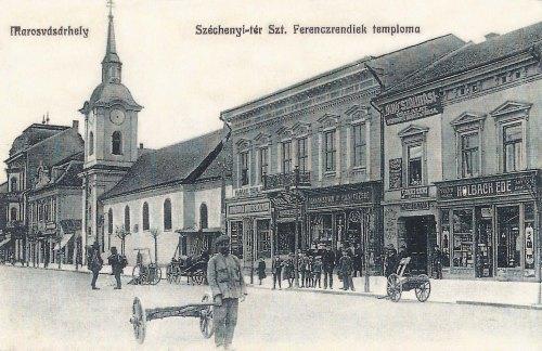 Marosvásárhely:Széchenyi tér,szent ferencrediek temploma.1912