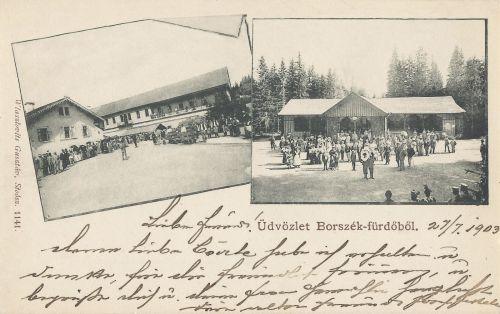 Ünnepség 1896-ban a régi borviz gyárnál és a Kossuth kútnál.1900