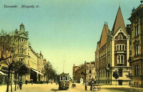 Temesvár:Hunyadi út villamossal.1916