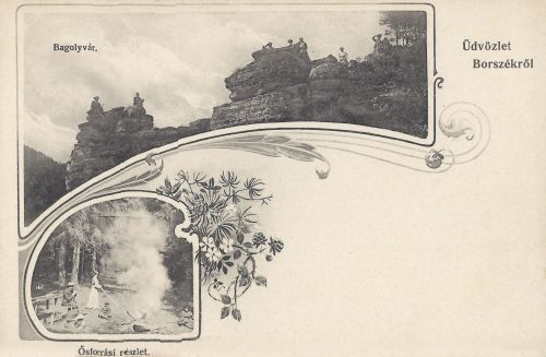 Borszék:Bagolyvár szikla és Ősforrás részlete.1906