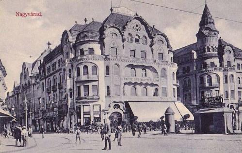Nagyvárad:Fekete Sas szálloda,Moskovits cipőüzlet.1910