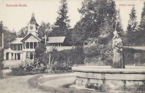 Főkút és Erzsébet forrás,zenepavilon és szökőkút.1908