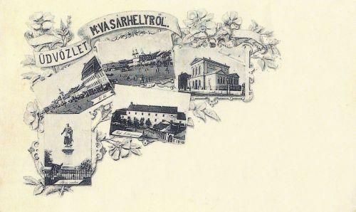 Marosvásárhely,mozaik,balra a Bem szobor 1897