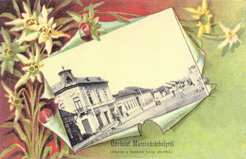 Marosvásárhely,szecesszió-lithográfia,Kossuth utca.1901