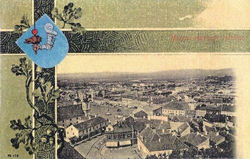 Marosvásárhely,szecessziós lithográfia a város cimerével 1901
