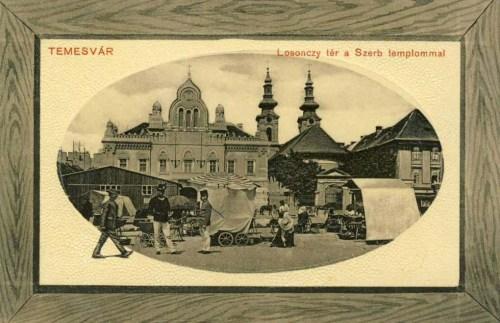 Temesvár:Losonczy tér a szerb templommal.1911