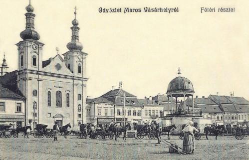 Marosvásárhely:katolikus jezsuita templom,fiákerek és Bodor zenélő kút.1906