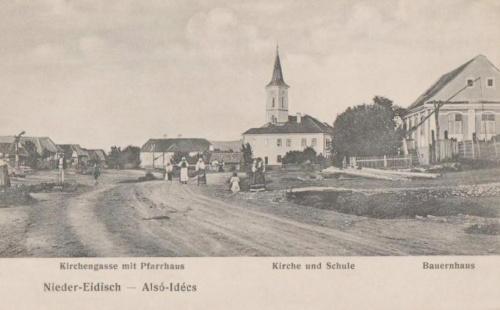Alsóidecs:templom a plébániával és iskola.1907