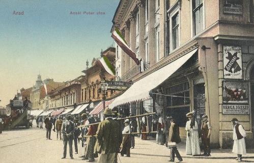 Arad:Deák Ferenc utca sarka, ékszerész üzlettel.1912