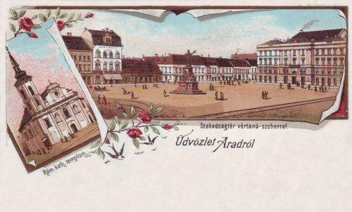 Arad:katolikus templom és Szabadság tér.1899