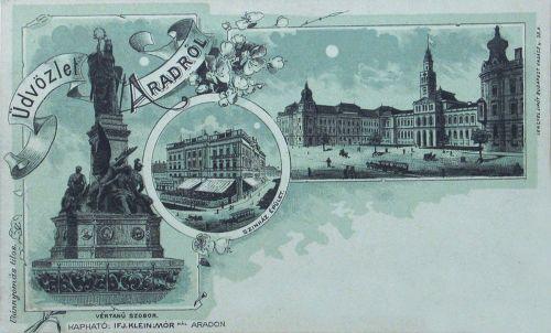 Arad:lito,városháza,vértanú szobor,szinház 1898