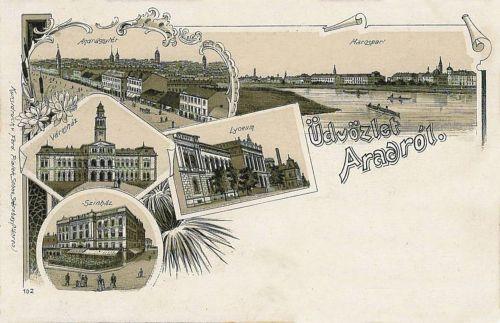 Arad,lithógráfia,Liceum,Városháza,Szinház,Maros part.1899