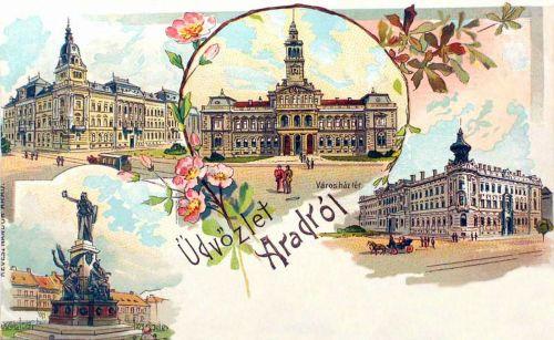 Arad:kőnyomat,Városház tér.1899