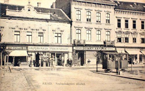 Arad:magyar,német,zsidó és szerb kereskedő üzlete a Szabadság téren.1911