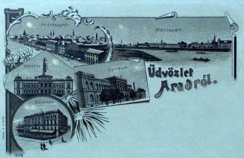 Arad:litográfia,szinház,városháza,liceum.1899
