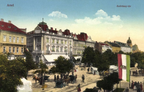 Arad:Andrássy-tér,Közgazdasági Bank,szálloda,1913.