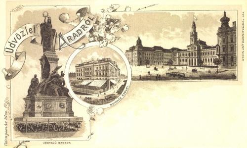 Arad:szinház,városháza,vértanú szobor,1899.