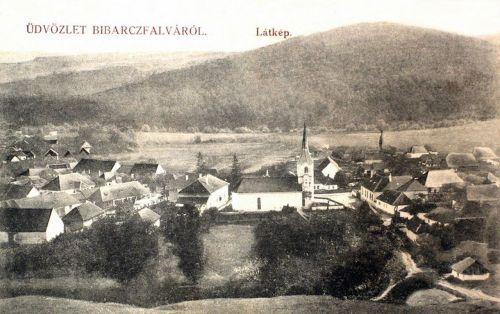 Bibarcfalva:látkép a templommal.1911