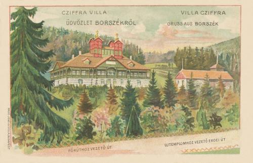 Borszék:balra a Cziffra(Emmausz) villa,jobbra az Irén(Bagolyvár) nyaraló.1910
