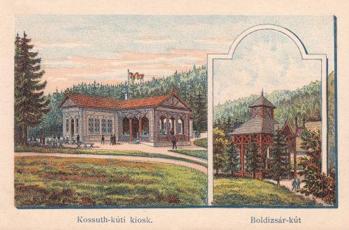 Borszékfürdő:Kossuth kávéház (kiosk) és Boldizsár kút.1890